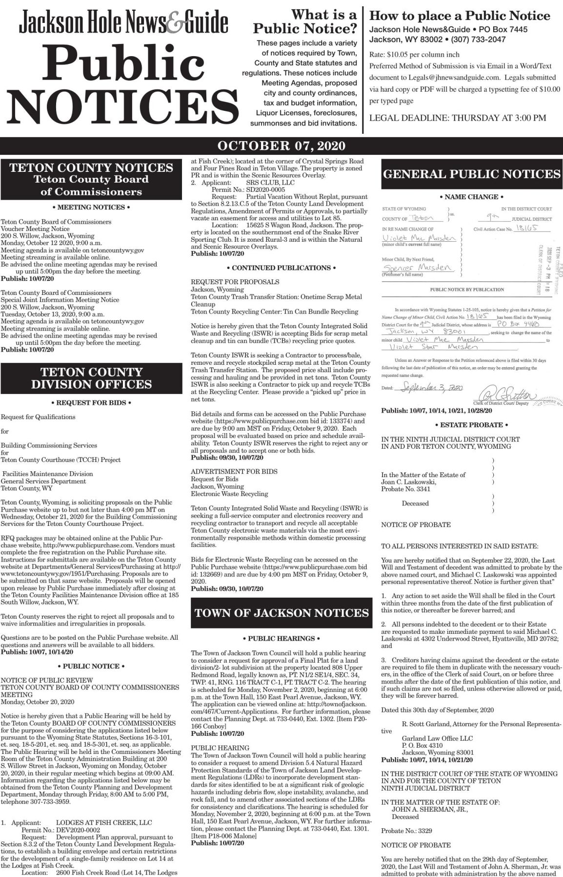 Public Notices, Oct. 07, 2020
