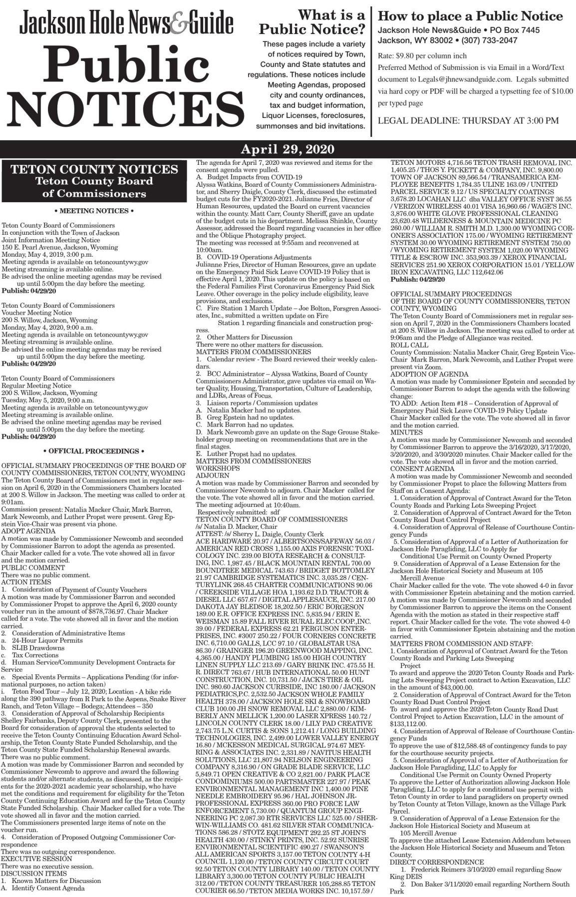 Public Notices, April 29, 2020