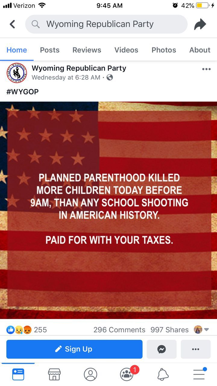 Wyoming GOP Facebook post
