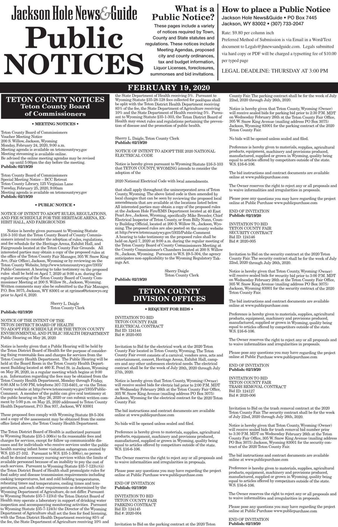 Public Notices, February 19, 2020