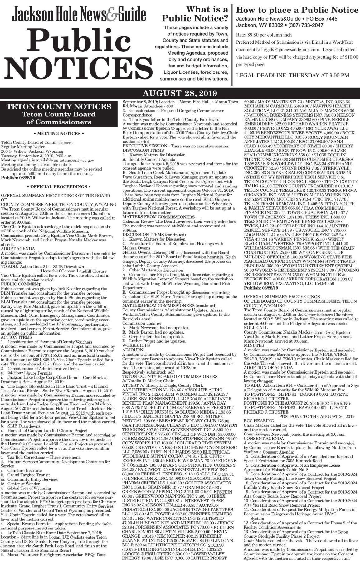 Public Notices, August 28, 2019