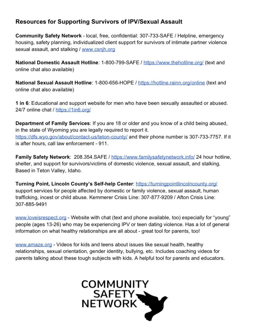 Resource list by CSN
