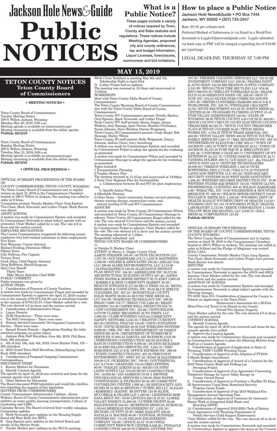 Public Notices, May 15, 2019
