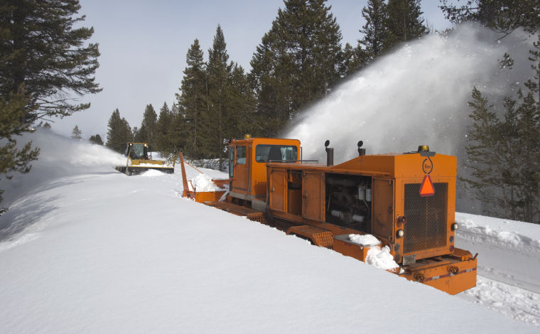 Plowing the Inner Park Loop Road in Grand Teton National Park