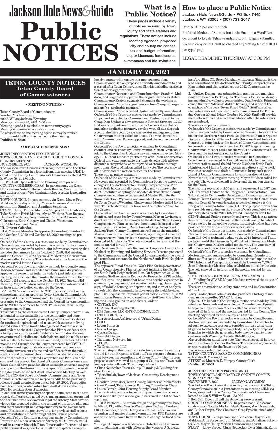 Public Notices, Jan. 20, 2021