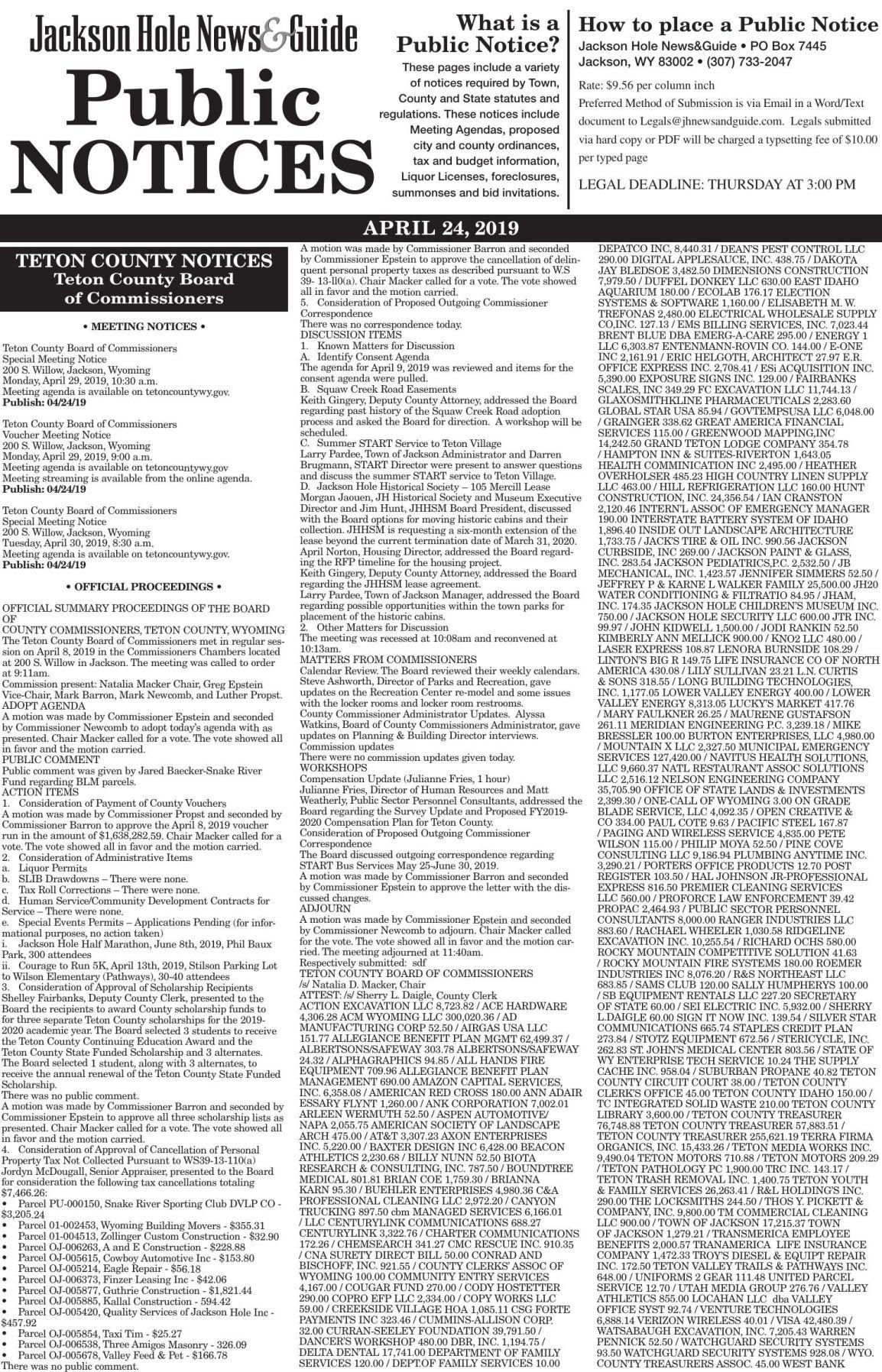 Public Notices, April 24, 2019