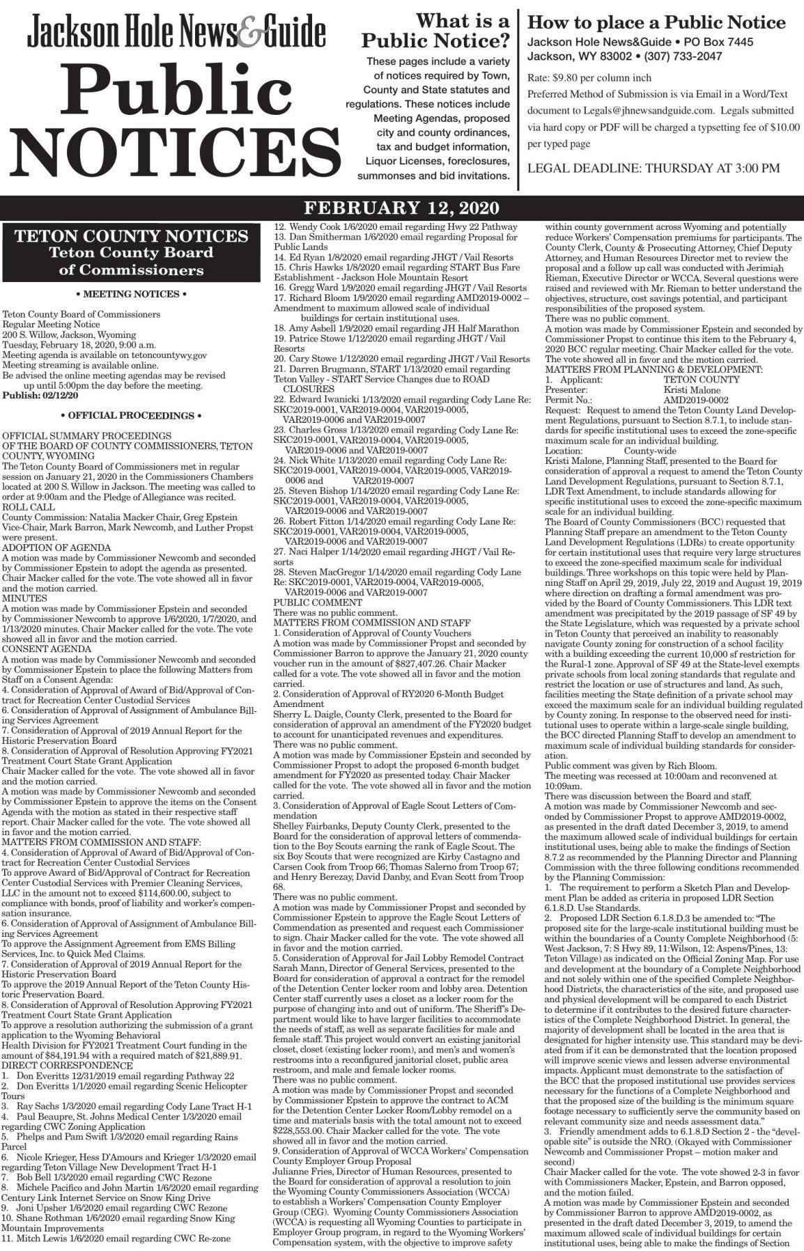 Public Notices, February 12, 2020