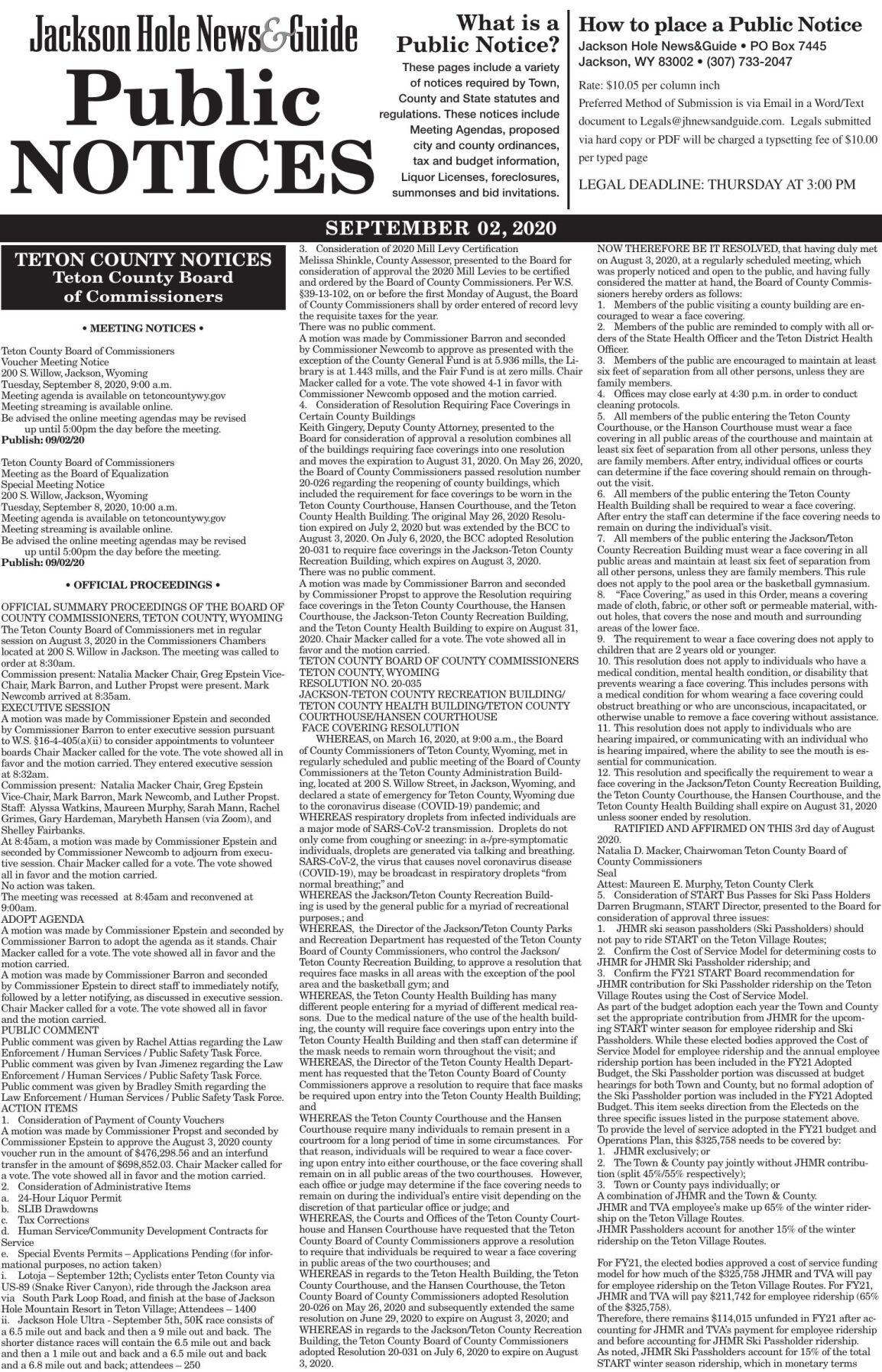Public Notices, Sep. 2, 2020
