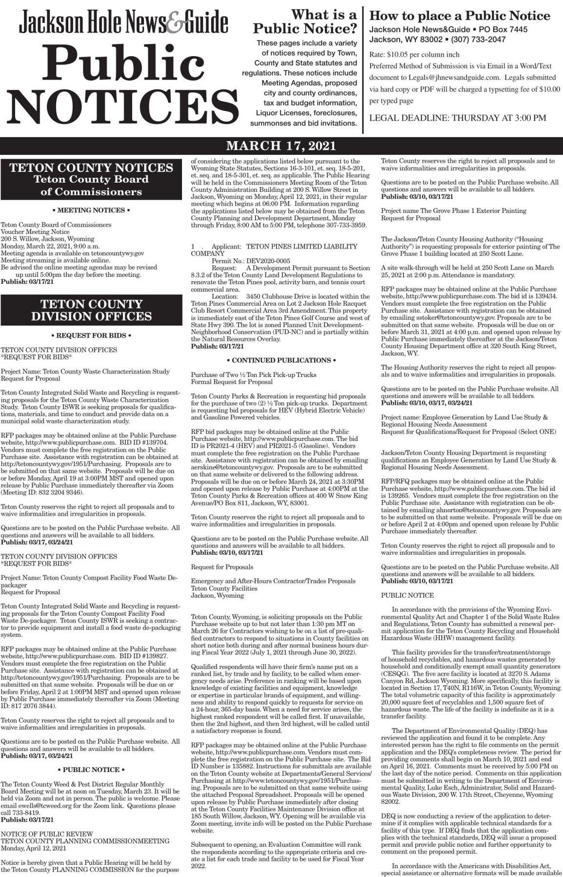 Public Notices, March 17, 2021