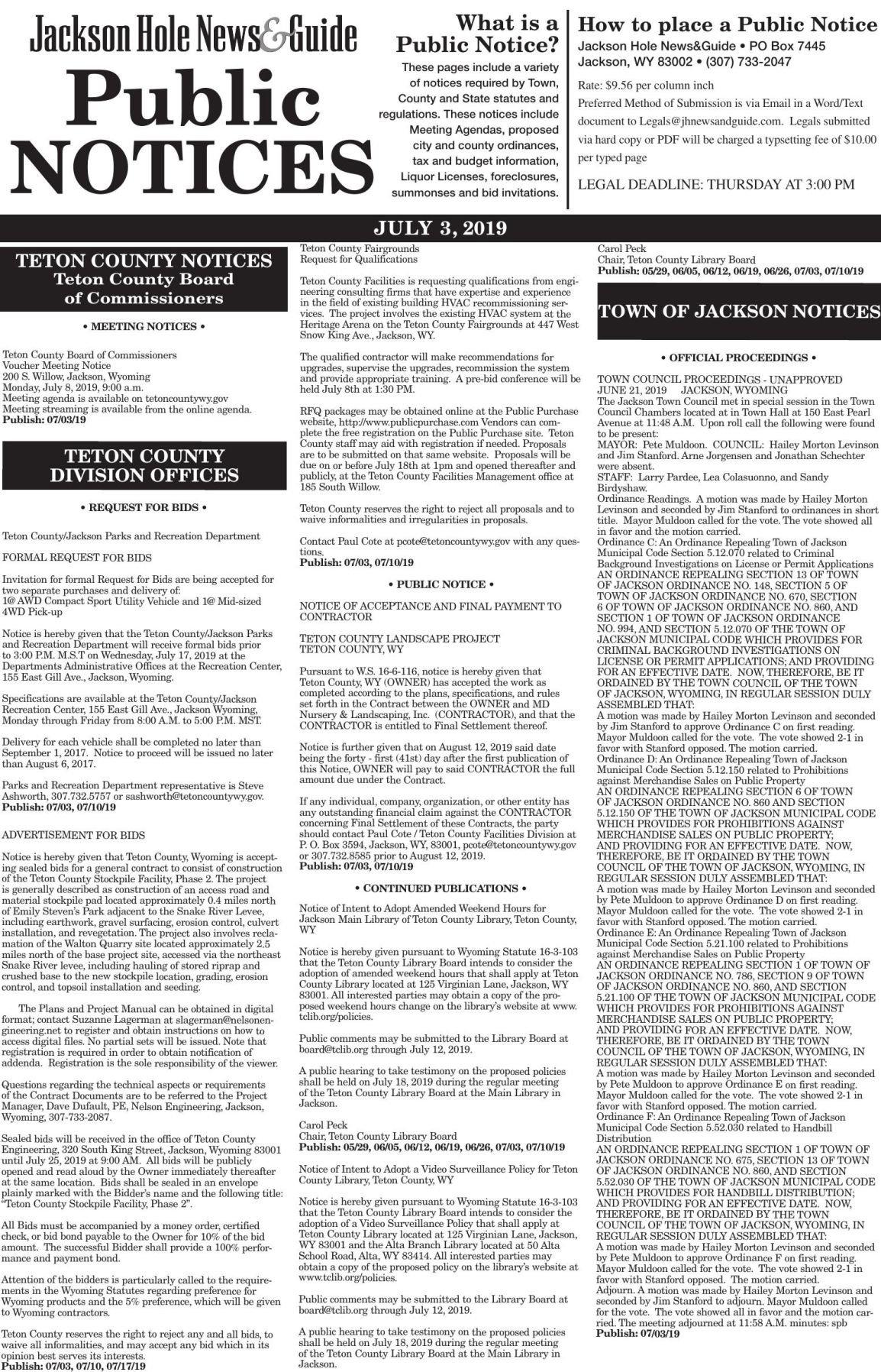 Public Notices, July 3rd, 2019