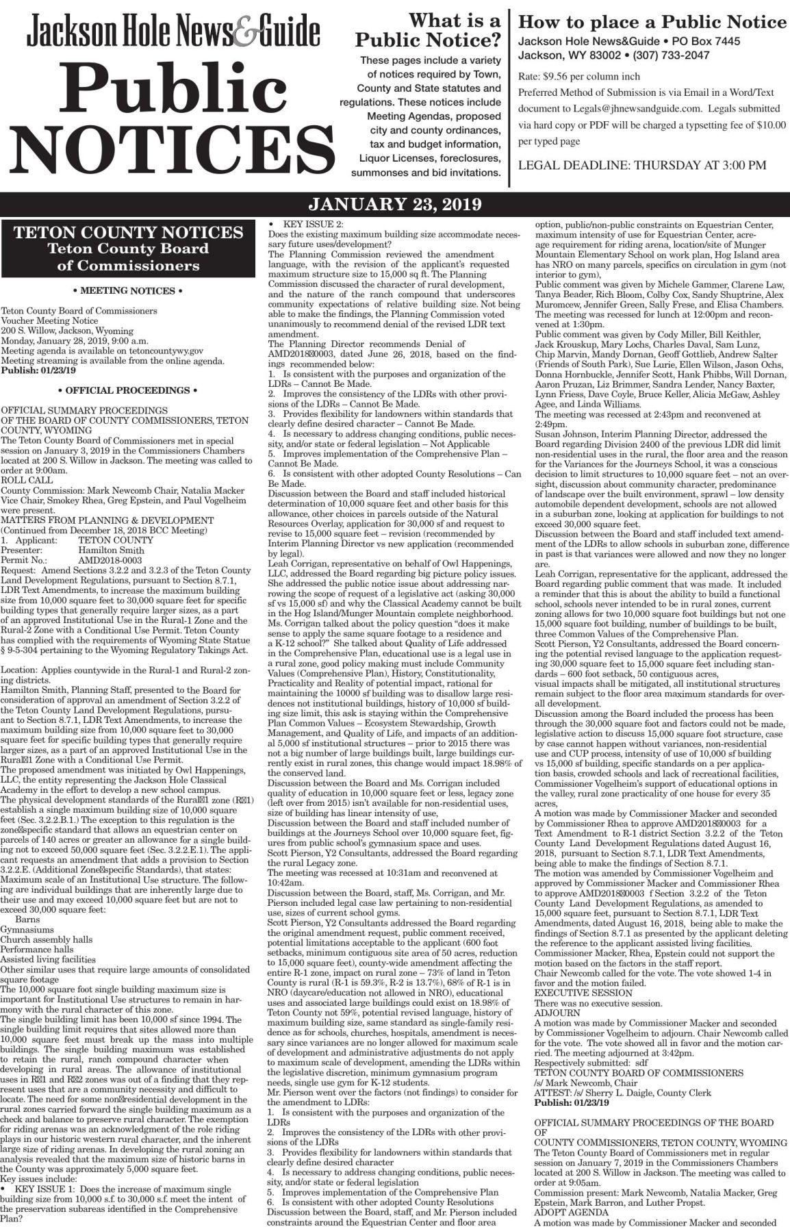 Public Notices, Jan. 23, 2019