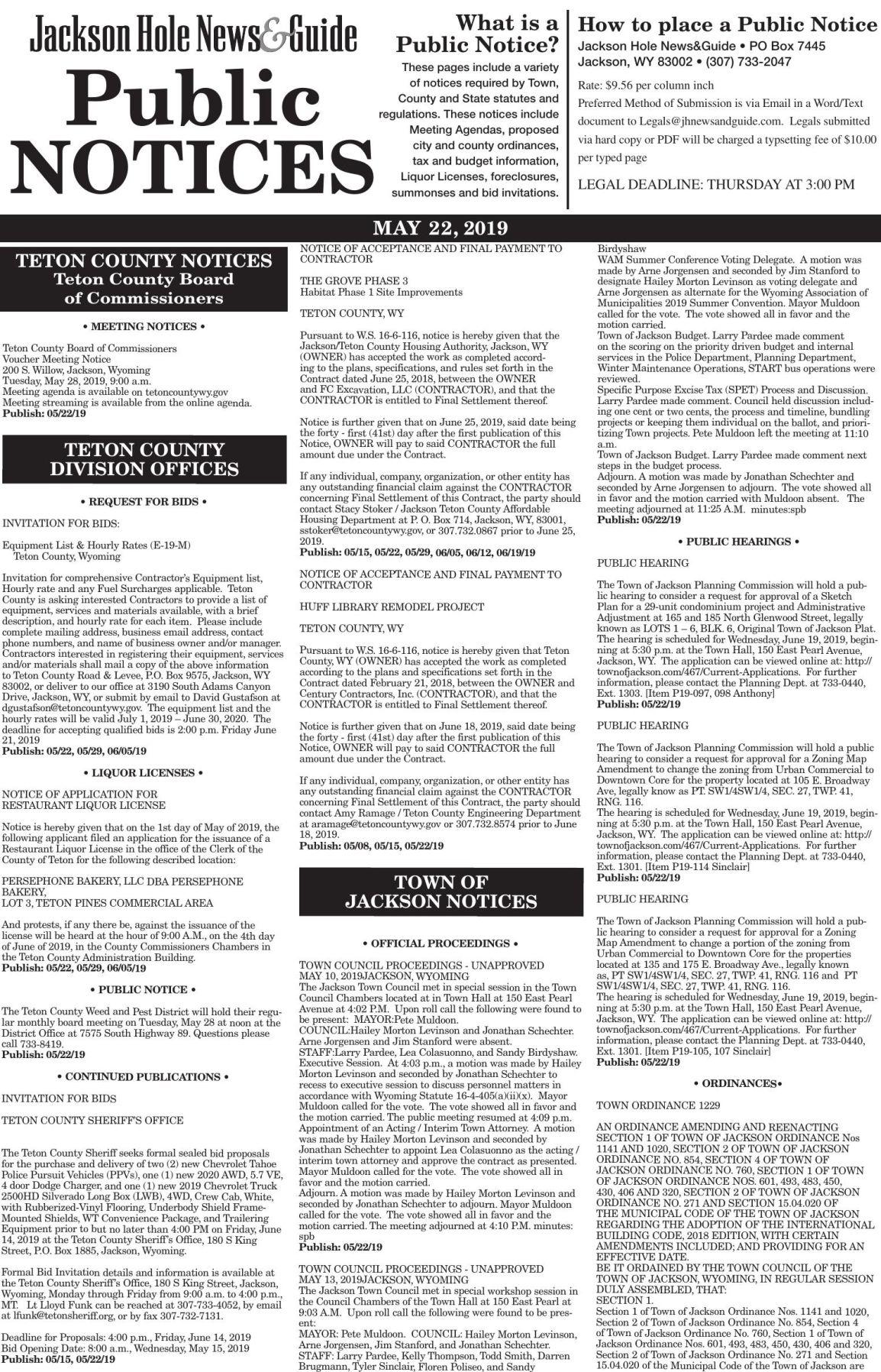 Public Notices, May 22, 2019