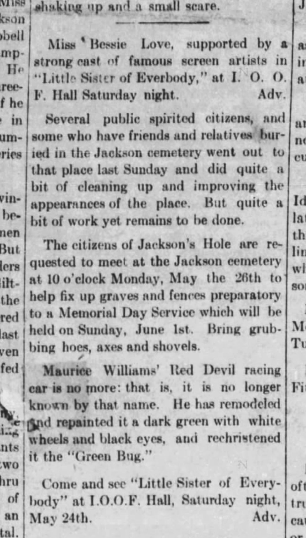May 22, 1919, Jackson's Hole Courier