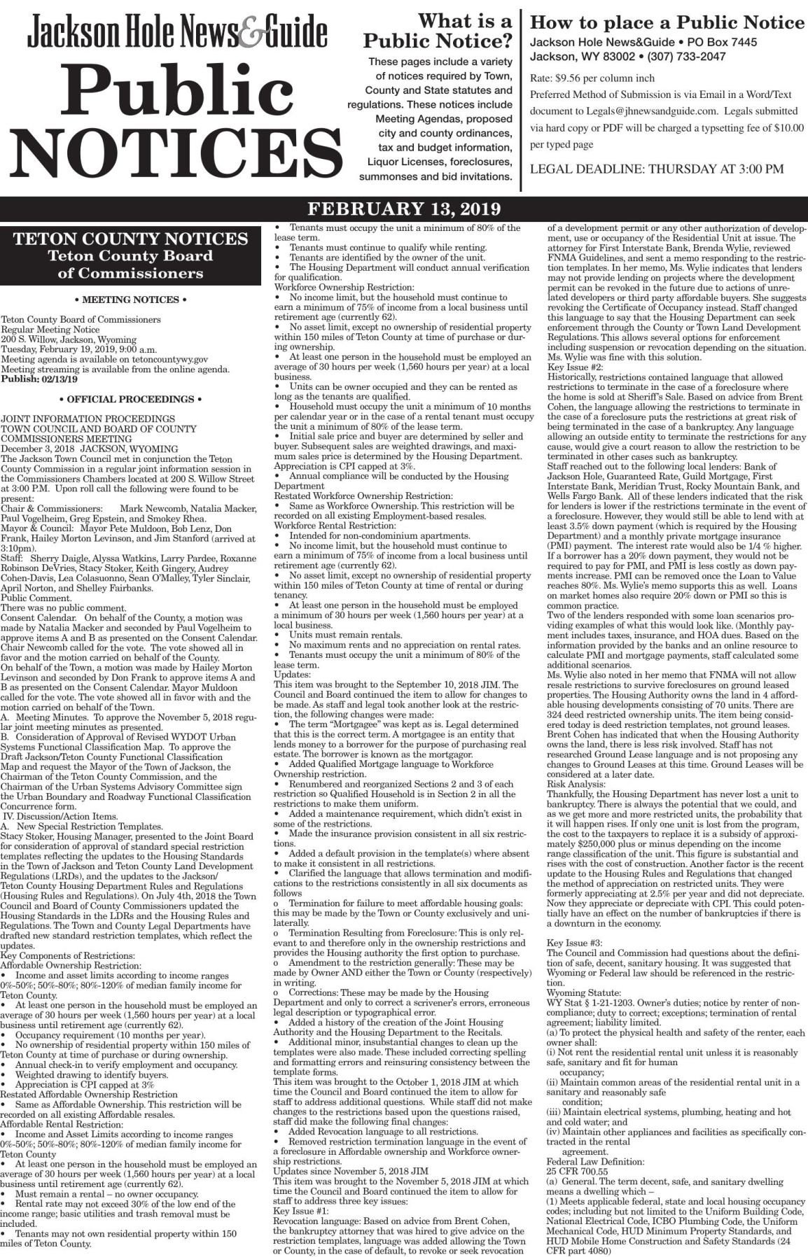 Public Notices, Feb. 13, 2019