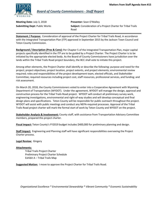 Project Charter Tribal Trails | | jhnewsandguide com