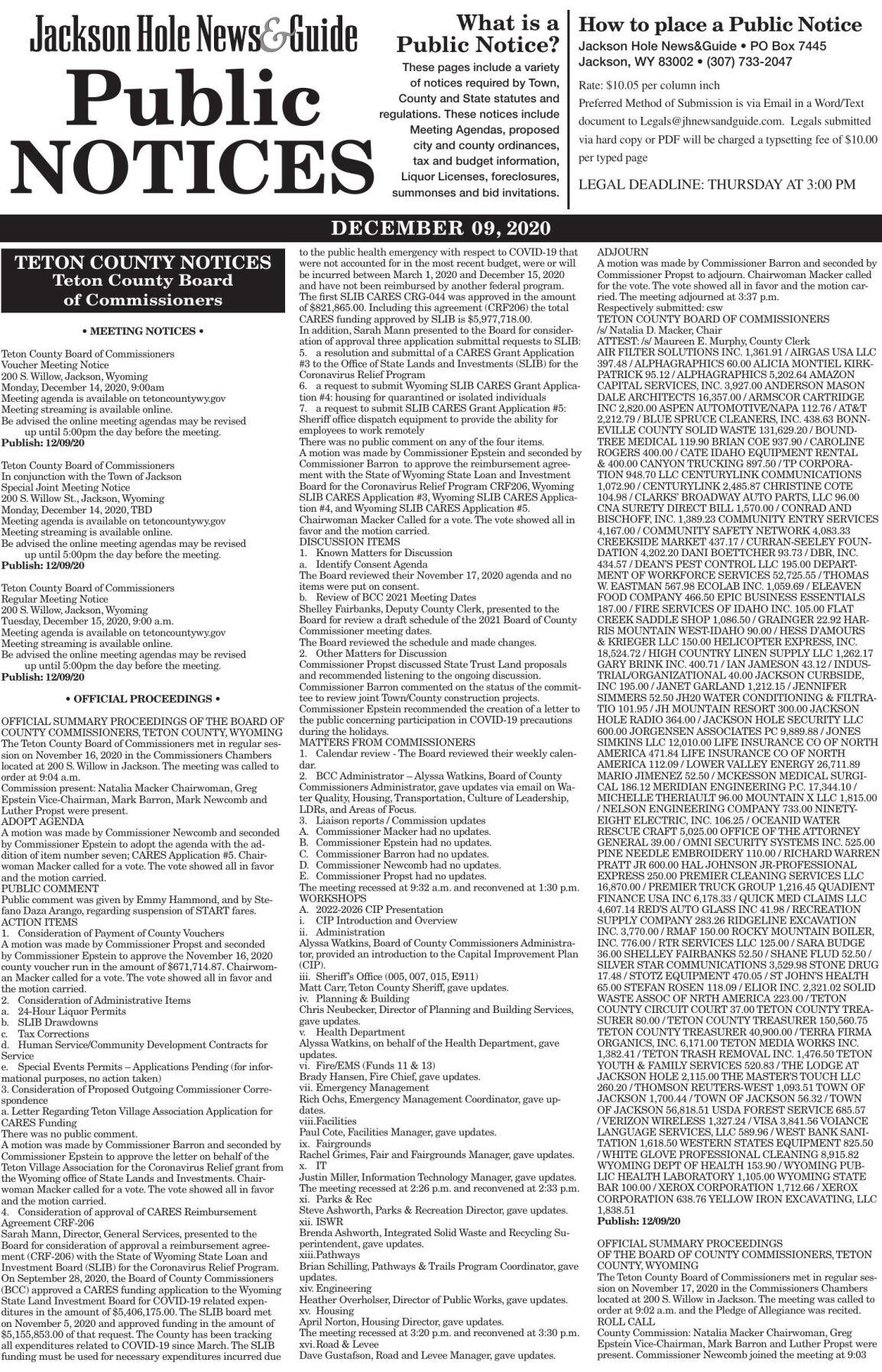 Public Notices, Dec. 9, 2020