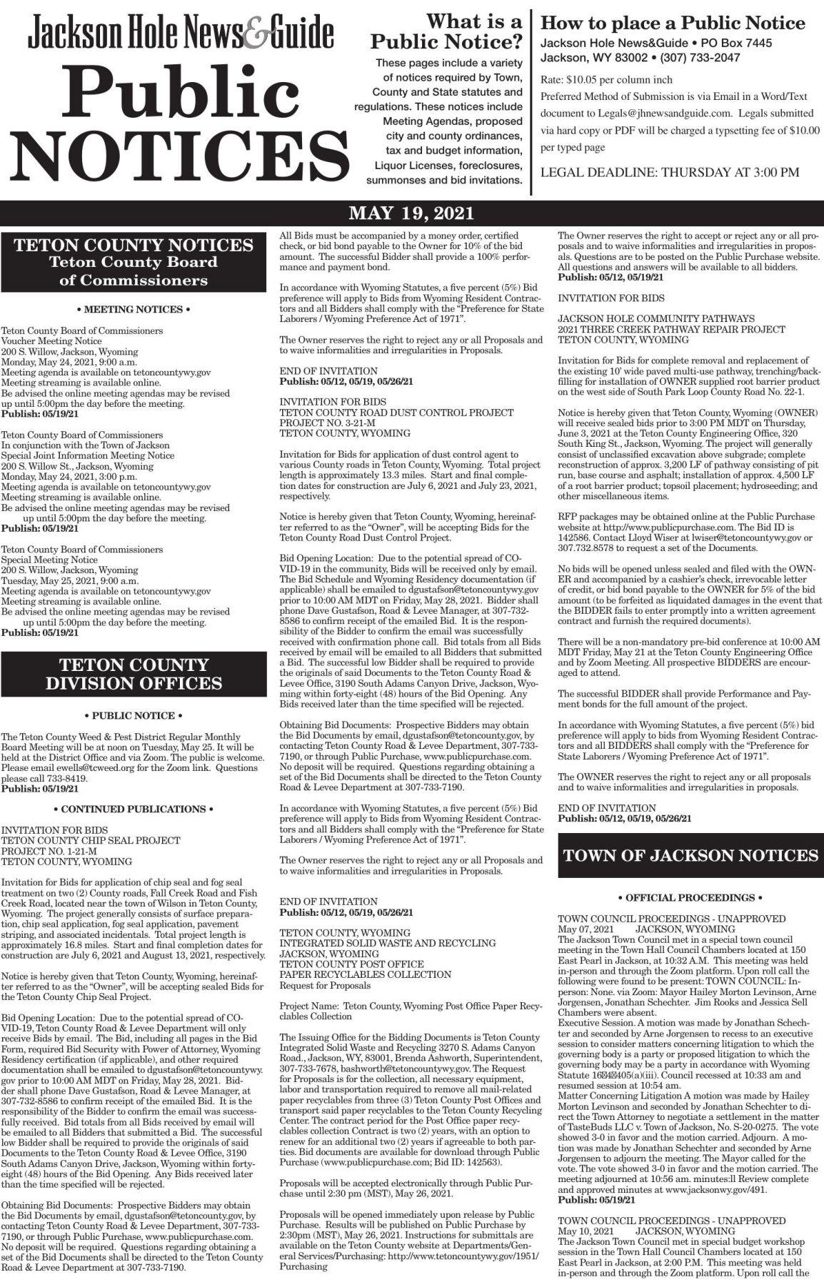 Public Notices, May 19, 2021