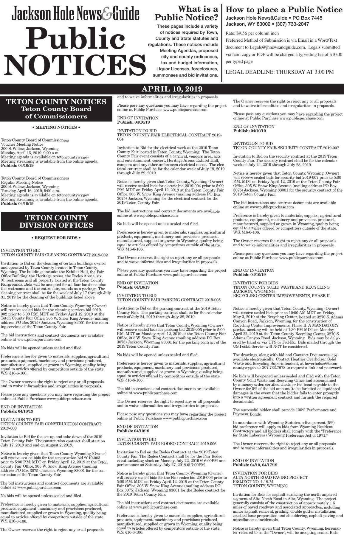 Public Notices, April 10, 2019