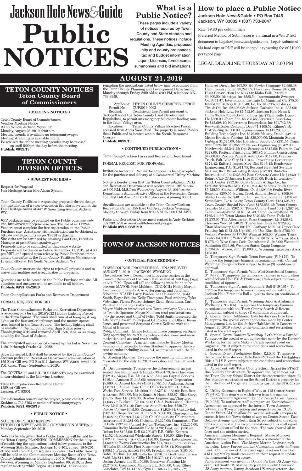 Public Notices, August 21, 2019