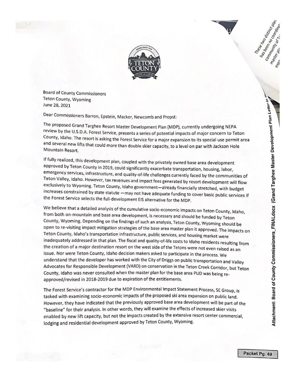 Grand Targhee letter - Teton County to Teton County