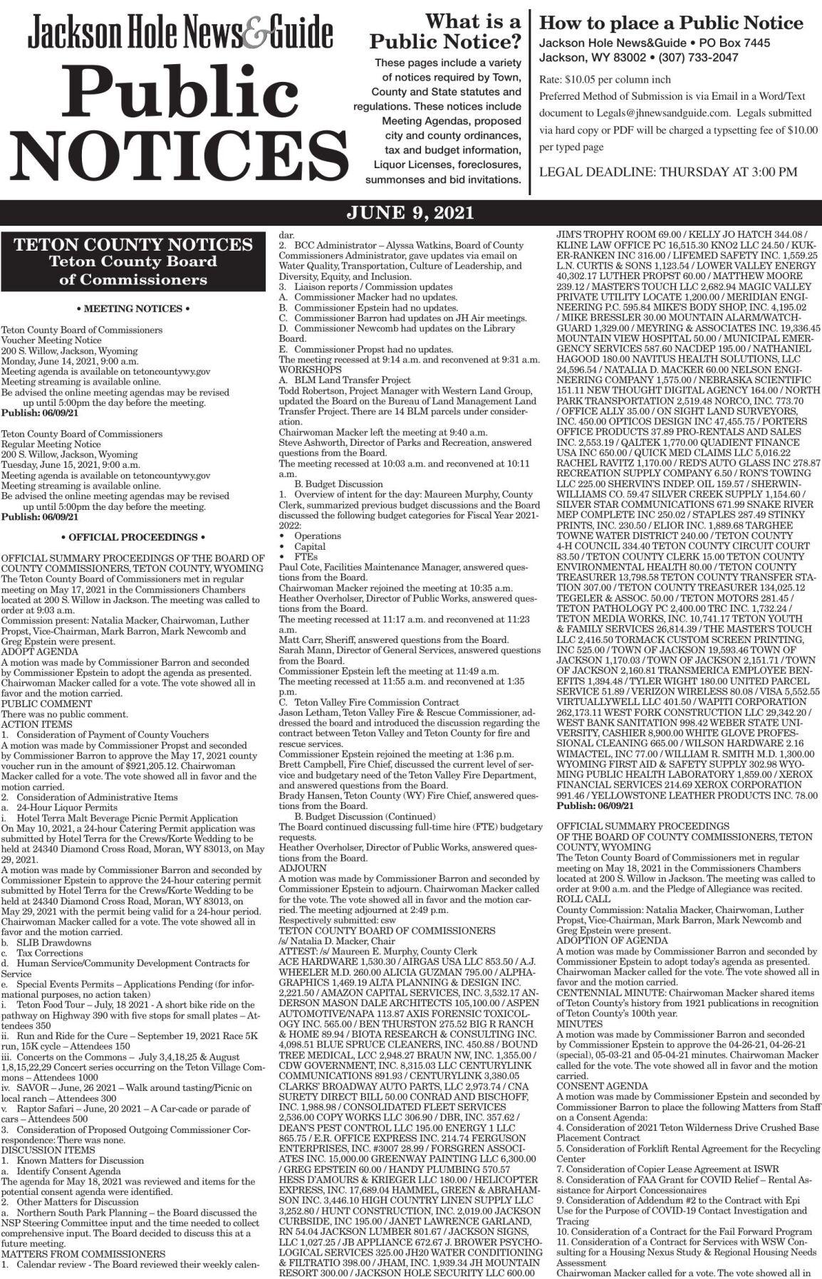 Public Notices, June 09, 2021
