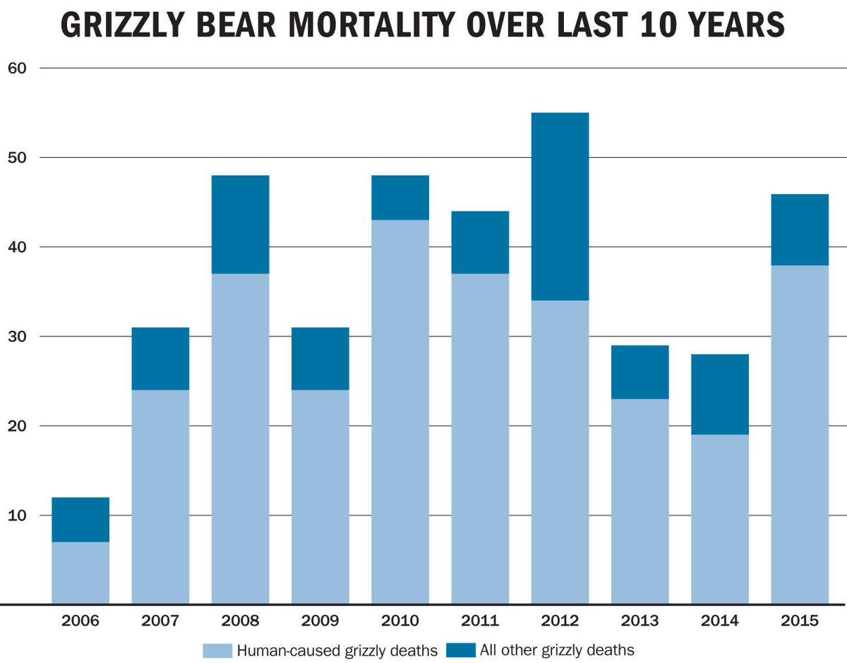 Grizzly bear mortality over last 10 years