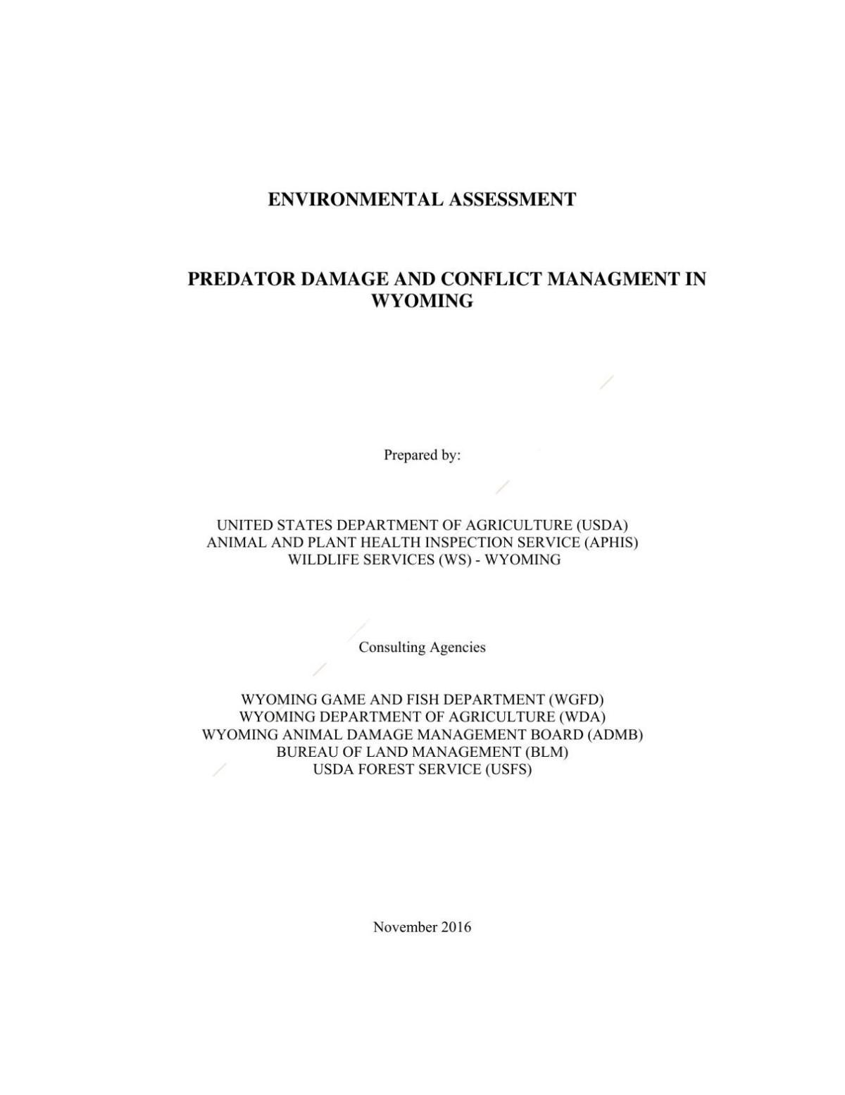 Wildlife Services-Wyoming environmental assessment