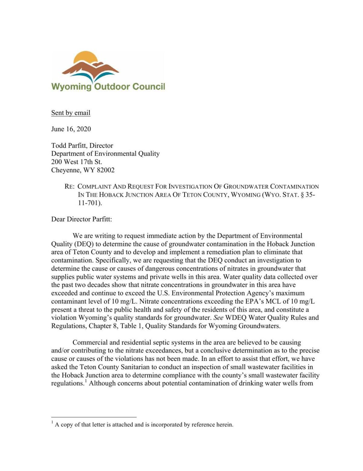 Request for DEQ Investigation of Hoback Junction Groundwater Contamination