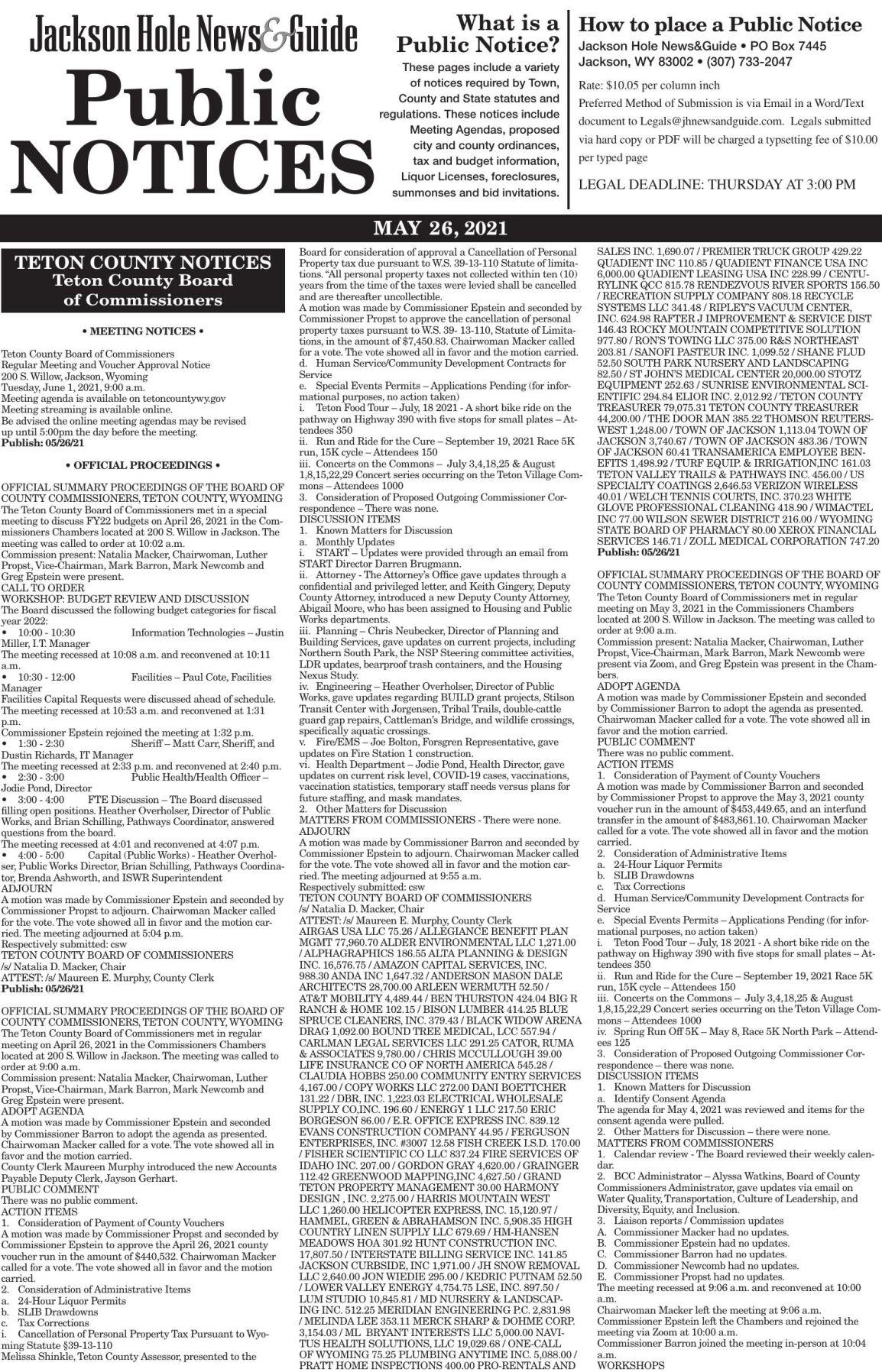 Public Notices, May 26, 2021