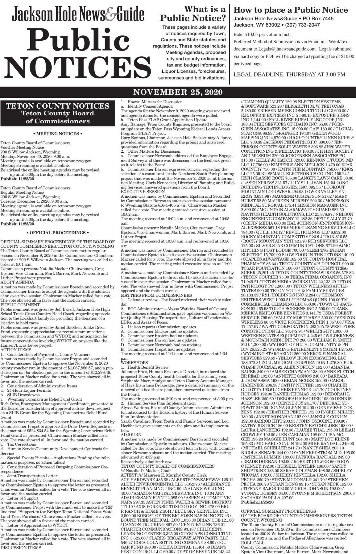 Public Notices, Nov. 25, 2020