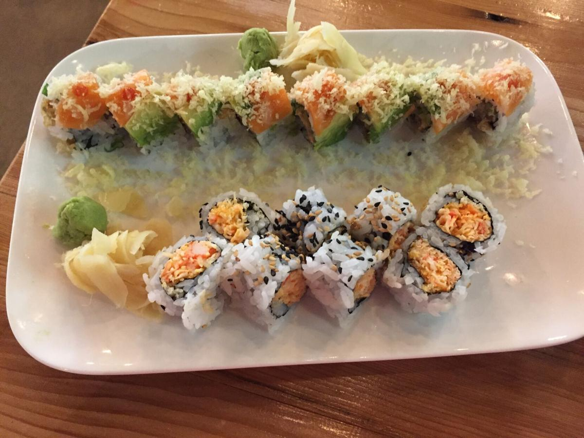 Chopstixpress Golden Combo - crunchy spicy crab roll and Rock n Roll.JPG