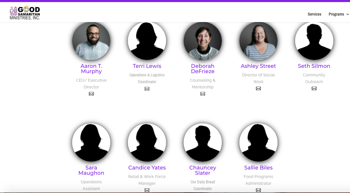 Good Samaritan leadership team on agency's website as of Wednesday afternoon