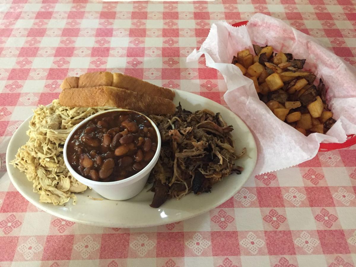 Smokehouse Mx & Match chx & ppork w cowboy beans & taters n onions.JPG