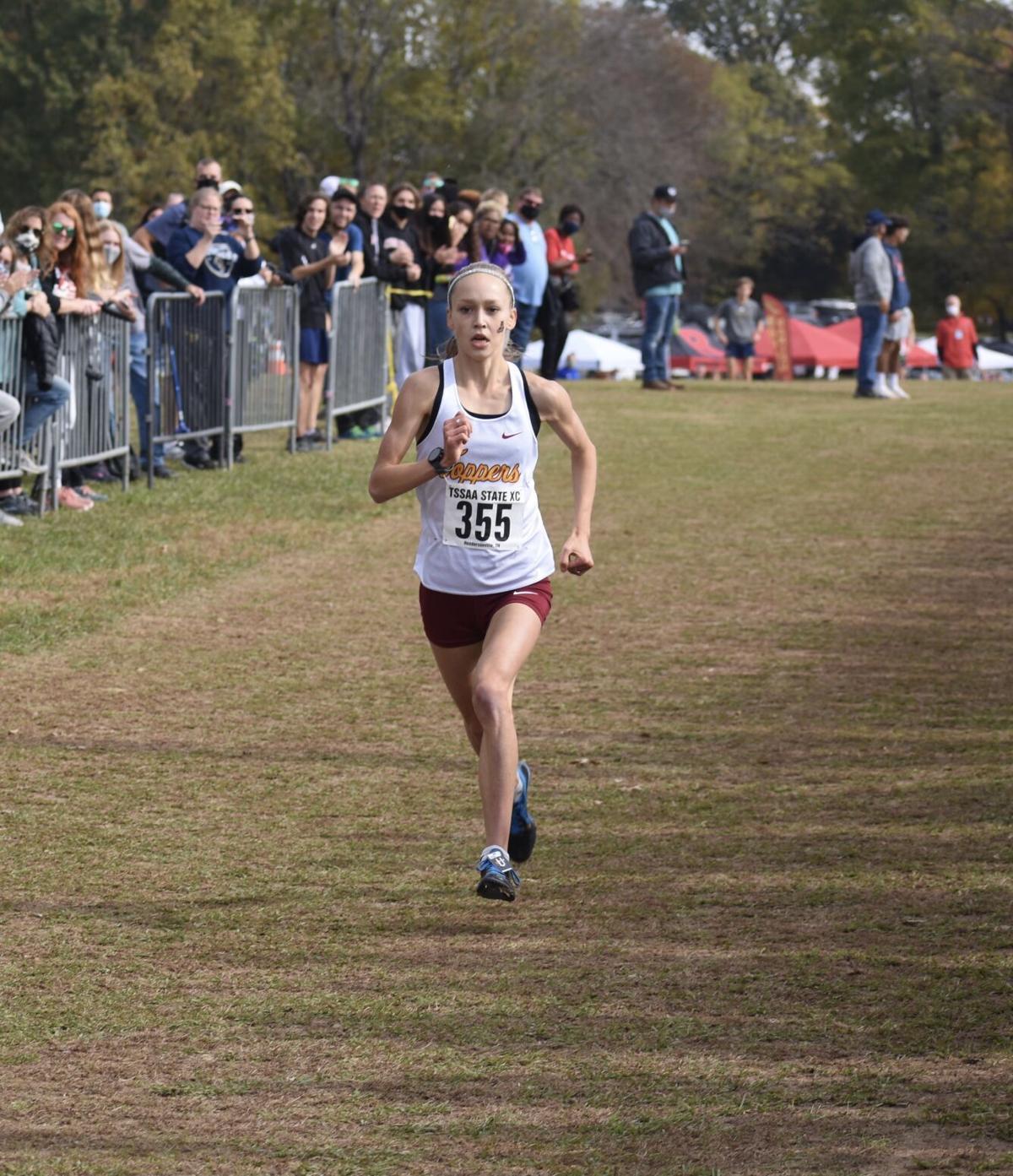 Jenna Hutchins at finish