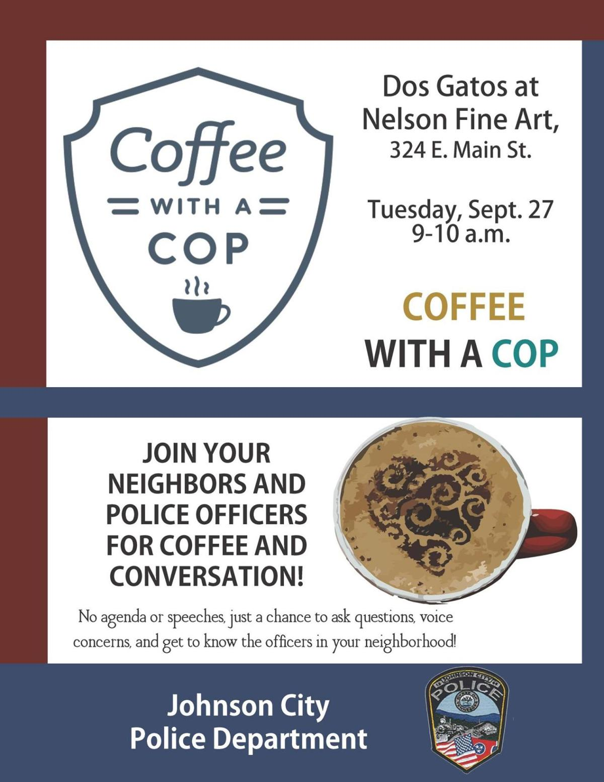 Johnson City police encourage interaction during Coffee with a Cop