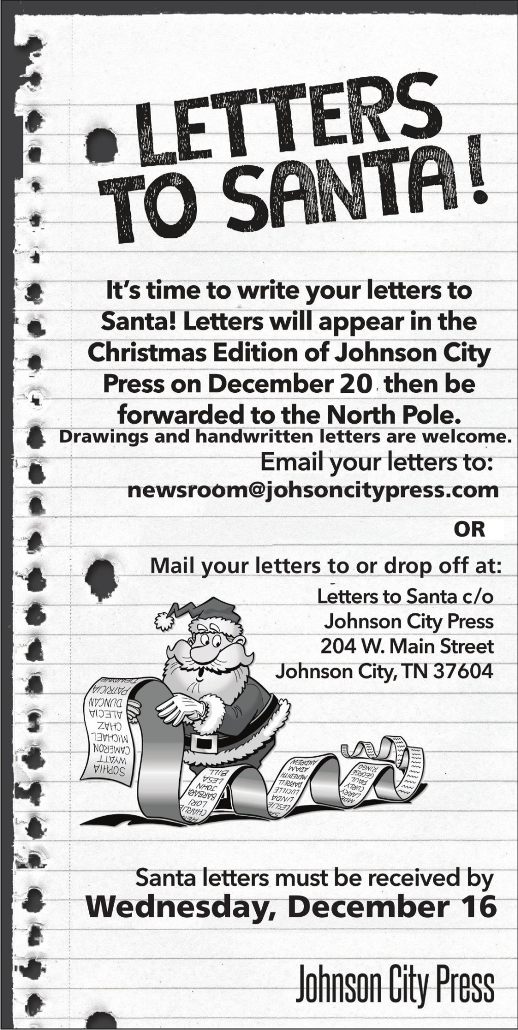 Send us your letters to Santa!