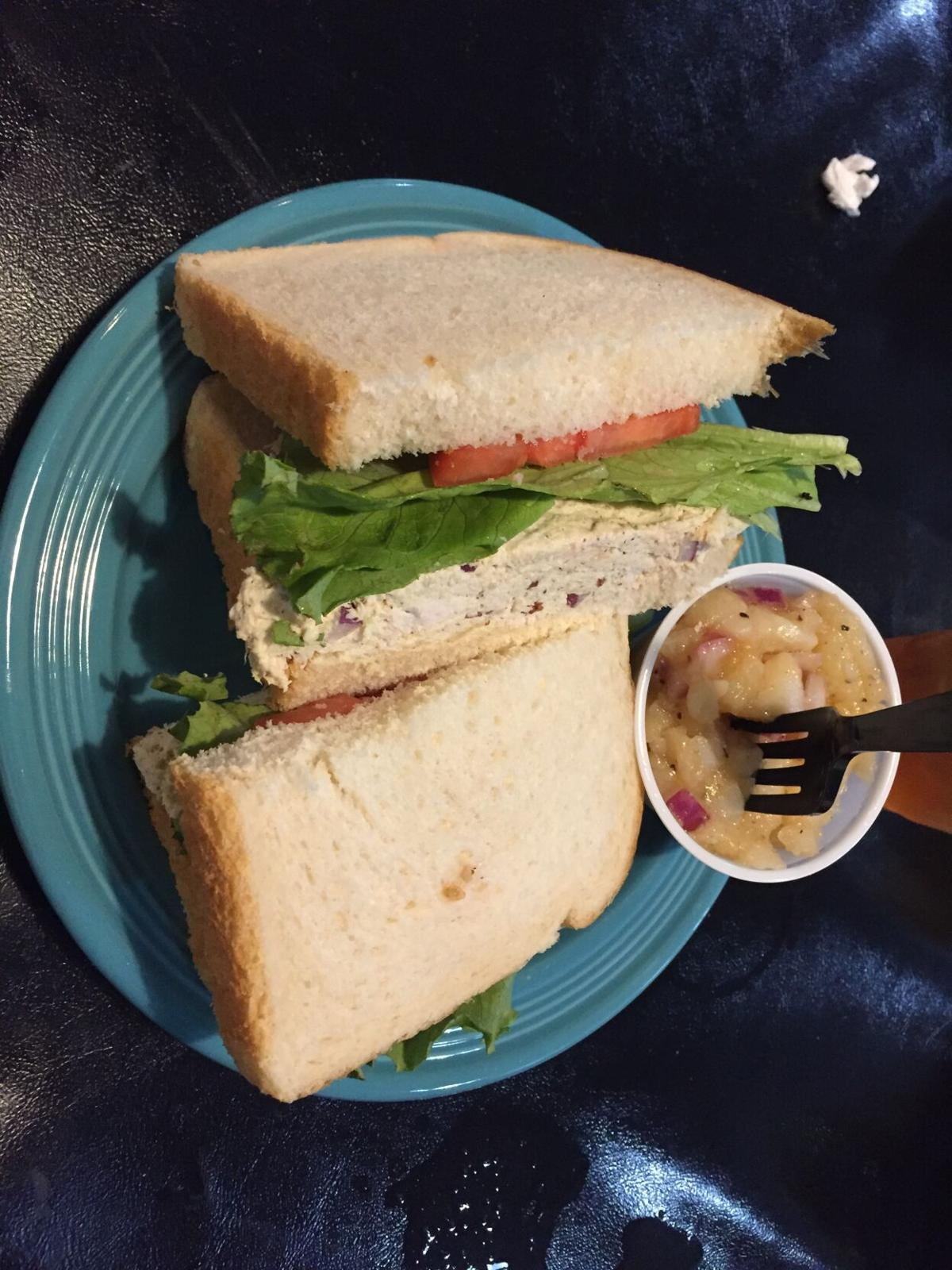 Coffee Co chicken salad sandwich w pot salad.JPG
