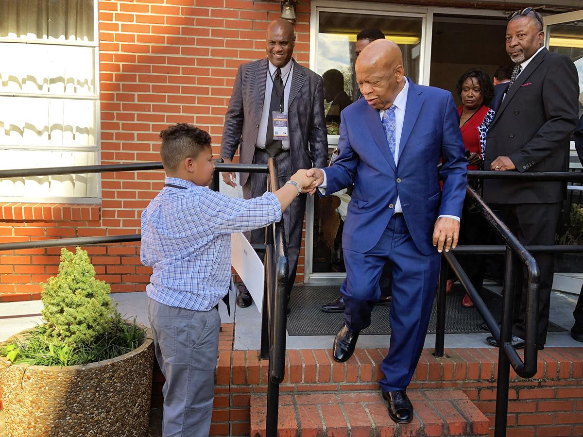 10 year old Tybre Faw from Johnson City meets hero Congressman John Lewis
