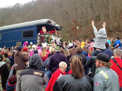 The Santa Train always draws crowds at each of its stops