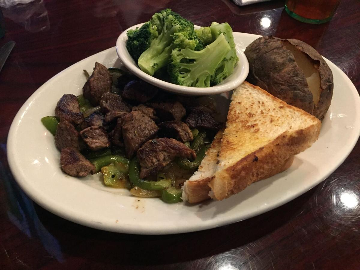 Zachary's beef tips with baked potato and broccoli