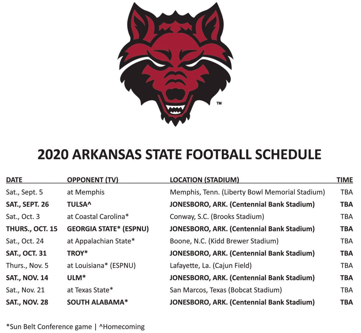 A-State Schedule 2020