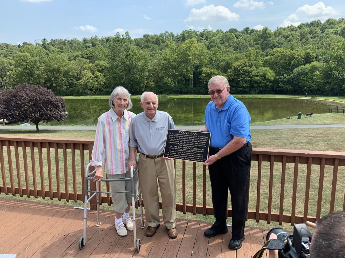 Poor House Farm Park lake, multiple buildings named after local couple
