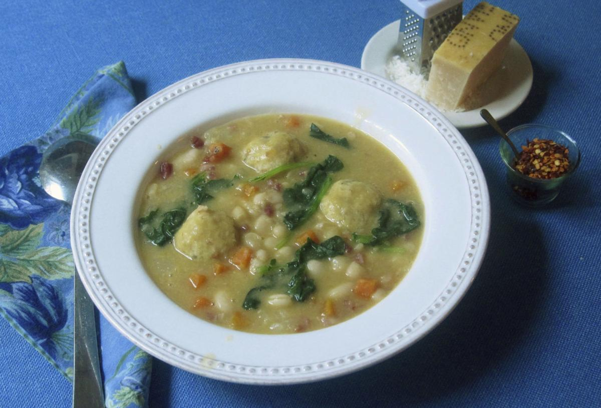 Serve white bean soup with dumplings for hearty winter meal