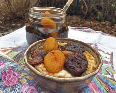 Dried fruits, ginger and cognac shine as a fruit compote