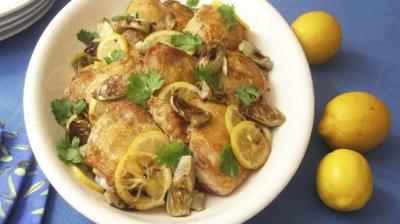 Serve baked chicken thighs with lemon pickles