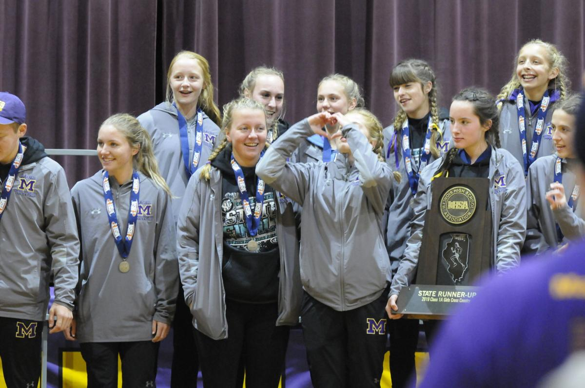 Monticello girls' cross-country team at community celebration