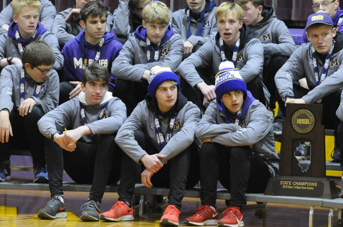 Sages boys' cross-country team at community celebration