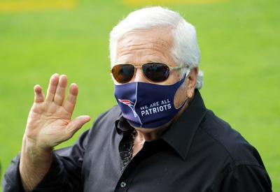 Owner Robert Kraft of the New England Patriots waves before a game against the Miami Dolphins at Hard Rock Stadium on December 20, 2020 in Miami Gardens, Florida.