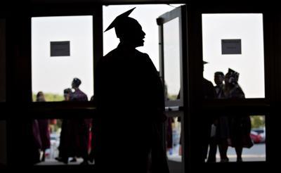 College generic graduation commencement graduate in profile