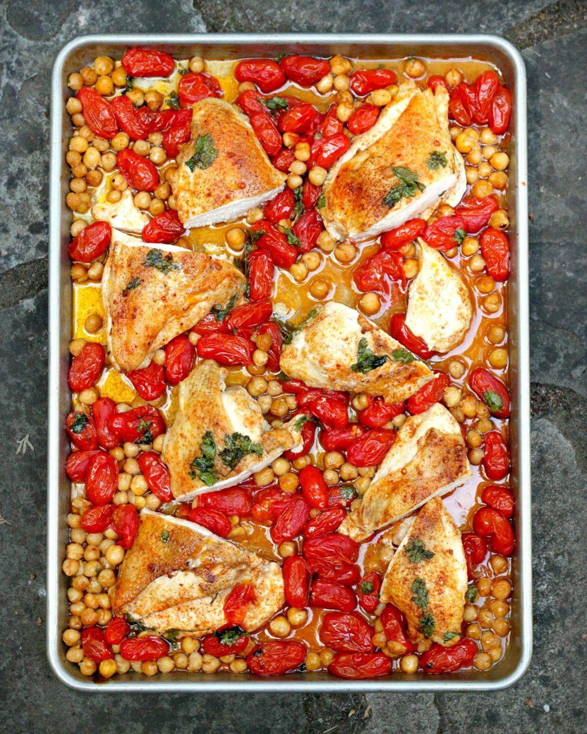 Sheet Pan Chicken Breast With Tomatoes and Chickpeas